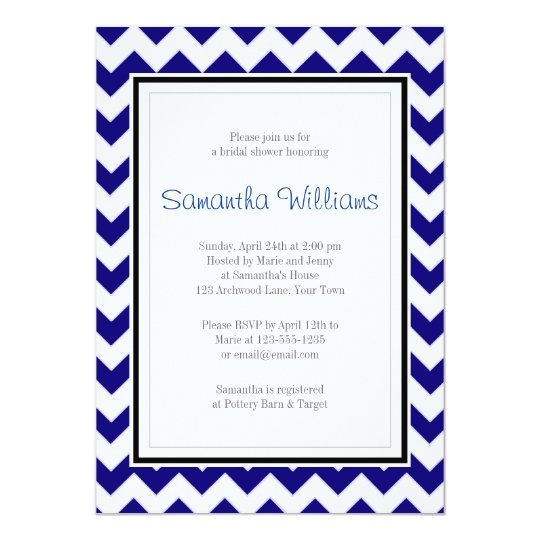 Navy Blue & White Chevron Bridal Shower Card