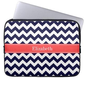 Navy Blue White Chevron Coral Red Name Monogram Laptop Sleeve