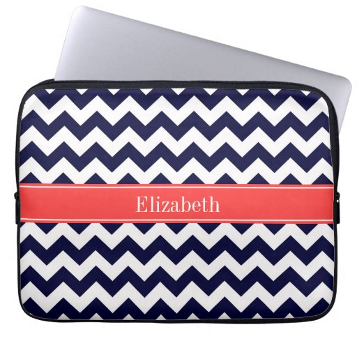 Navy Blue White Chevron Coral Red Name Monogram Computer Sleeve