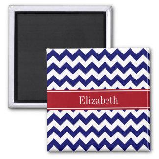 Navy Blue White Chevron Cranberry Name Monogram Square Magnet