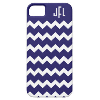 Navy Blue & White Chevron Monogrammed iPhone 5 iPhone 5 Covers
