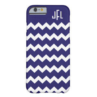 Navy Blue & White Chevron Monogrammed iPhone 6 cas Barely There iPhone 6 Case