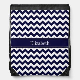 Navy Blue White Chevron Navy Name Monogram Drawstring Bag