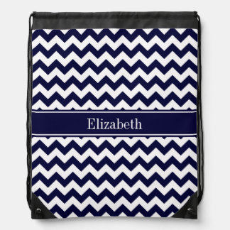 Navy Blue White Chevron Navy Name Monogram Drawstring Bag