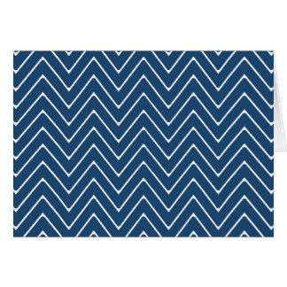 Navy Blue White Chevron Pattern 2A Card