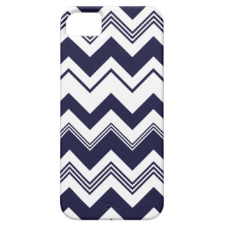 Navy Blue White Chevron Pattern iPhone 5 Cases