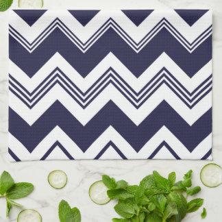Navy Blue White Chevron Pattern Kitchen Towels