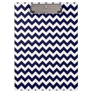 Navy Blue White Chevron Zig-Zag Pattern Clipboard