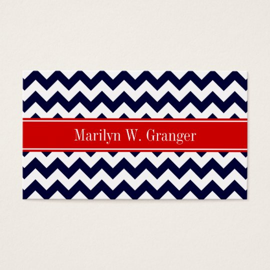 Navy Blue White Chevron Zig Zag Red Name Monogram Business Card