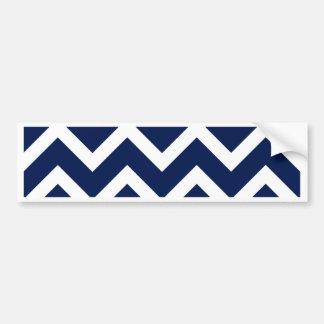 Navy Blue & White Chevron Zigzag Pattern Bumper Sticker