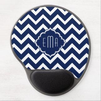 Navy Blue & White Chevron Zigzag Pattern Gel Mouse Mat