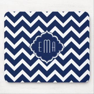 Navy Blue & White Chevron Zigzag Pattern Mouse Pad