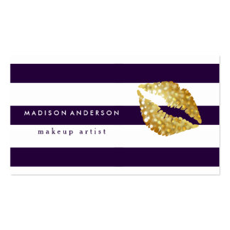 Navy Blue & White Chic Gold Lips - Makeup Artist Pack Of Standard Business Cards