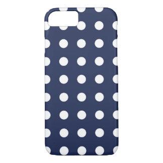 Navy Blue White Chic Polka Dot iPhone 7 Case