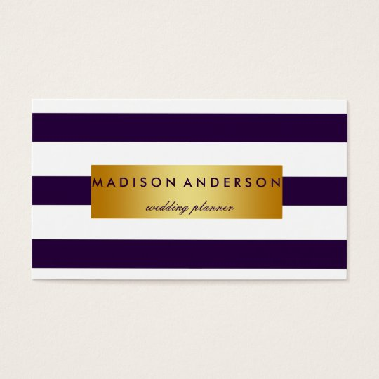 Navy Blue & White Chic Stripes in Gold