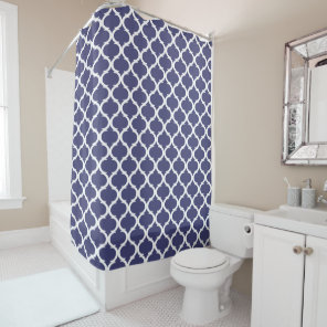 Navy Blue White Coastal Nautical Lake House Print Shower Curtain