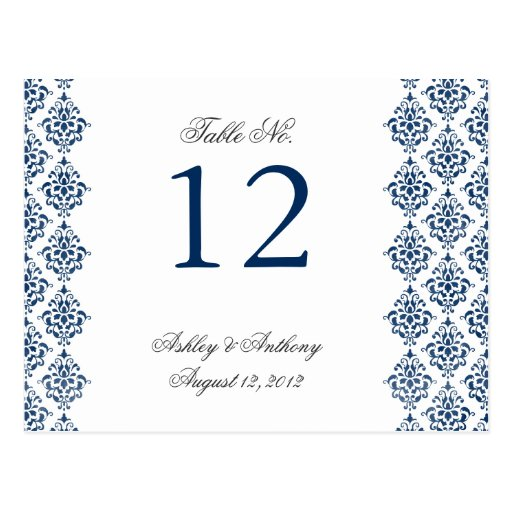 Navy Blue White Damask Arabesque Table Number Card Post Card