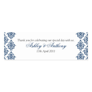 Navy Blue White Damask Floral Wedding Favour Tags Business Cards