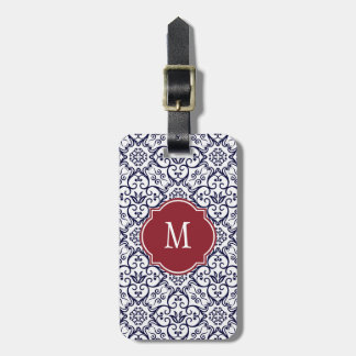 Navy Blue & White Damask Monogram Luggage Tag