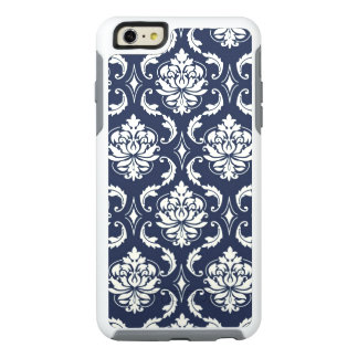 Navy Blue White Damask Pattern OtterBox iPhone 6/6s Plus Case