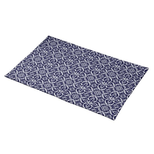 Navy Blue & White Damask Pattern Placemats