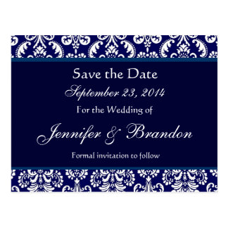 Navy Blue & White Damask Save The Date Postcard