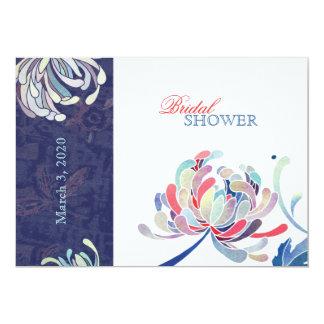 Navy Blue & White Elegant Mum Floral Bridal Shower Card