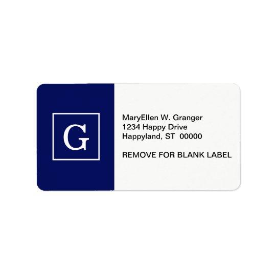 Navy Blue White Framed Initial Monogram Address Label