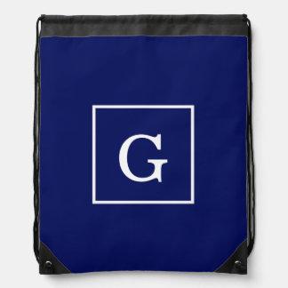Navy Blue White Framed Initial Monogram Cinch Bags