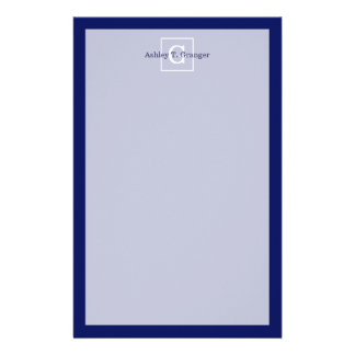 Navy Blue White Framed Initial Monogram Custom Stationery