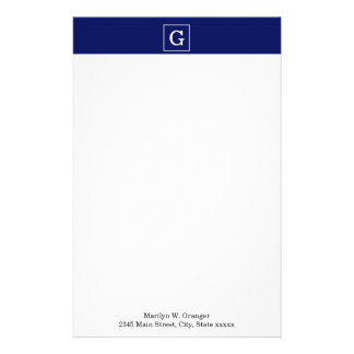 Navy Blue White Framed Initial Monogram Personalised Stationery