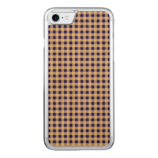 Navy Blue White Gingham Pattern Carved iPhone 8/7 Case