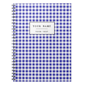 Navy Blue White Gingham Pattern Notebooks