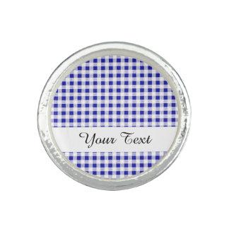 Navy Blue White Gingham Pattern Photo Rings