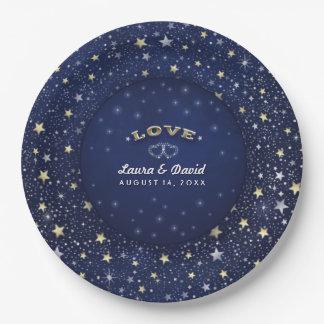 Navy Blue White & Gold LOVE Stars Wedding Plates