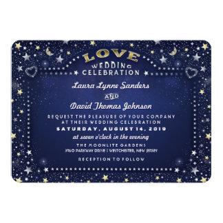 Navy Blue White & Gold Moon & Stars Love Wedding 13 Cm X 18 Cm Invitation Card