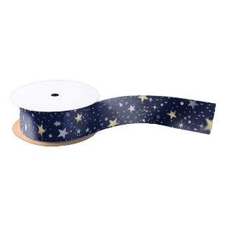 Navy Blue White & Gold Stars Matching Ribbon Satin Ribbon