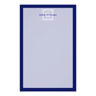 Navy Blue White Greek Key #1 Framed Monogram Customised Stationery