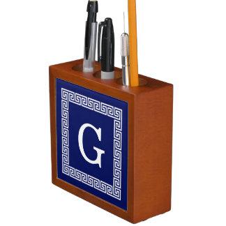 Navy Blue White Greek Key #1 Framed Monogram Desk Organiser