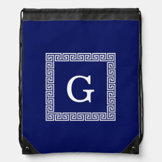 Navy Blue White Greek Key #1 Framed Monogram Drawstring Bag