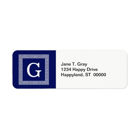Navy Blue White Greek Key #1 Framed Monogram Return Address Label