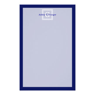 Navy Blue White Greek Key #1 Framed Monogram Stationery
