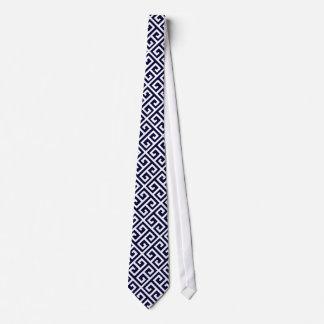 Navy Blue & White Greek Key Men's Tie