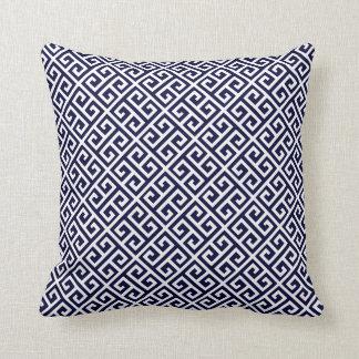 Navy Blue & White Greek Key Throw Pillows