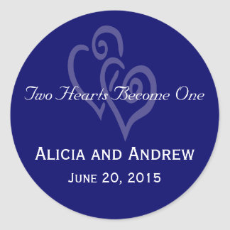 Navy Blue White Hearts Wedding Favour Stickers