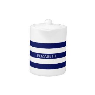 Navy Blue White Horiz Preppy Stripe #3 Monogram