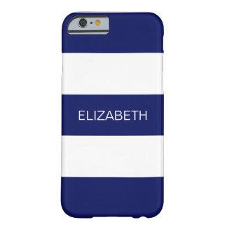 Navy Blue White Horiz Preppy Stripe #3 Monogram Barely There iPhone 6 Case