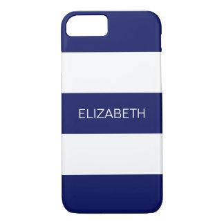 Navy Blue White Horiz Preppy Stripe #3 Monogram iPhone 8/7 Case