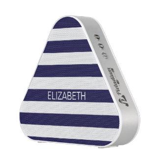 Navy Blue White Horizontal Stripes Name Monogram Bluetooth Speaker