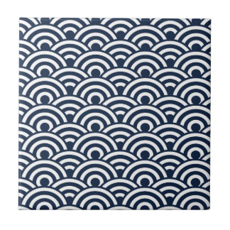 Navy Blue White Japanese Wave Pattern Small Square Tile